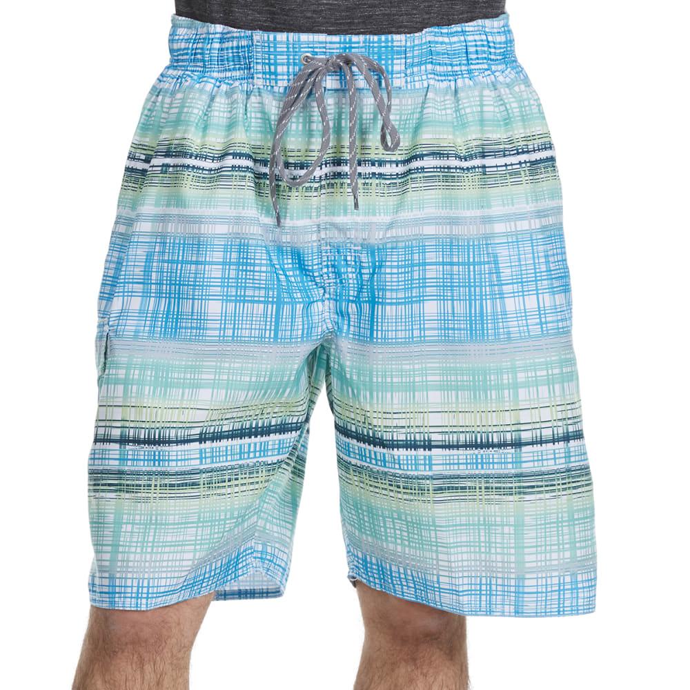 NEWPORT BLUE Men's Vintage Plaid Swim Shorts - BLUE/GRN-0444