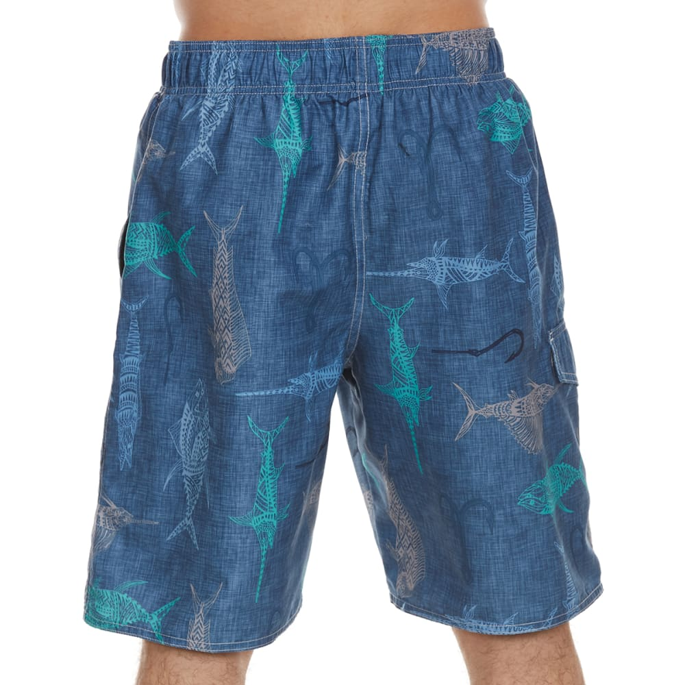 NEWPORT BLUE Men's Grand Slam Fish Print Swim Shorts - BLUE-0422