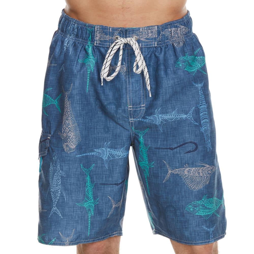 NEWPORT BLUE Men's Grand Slam Fish Print Swim Shorts - BLUE-0422