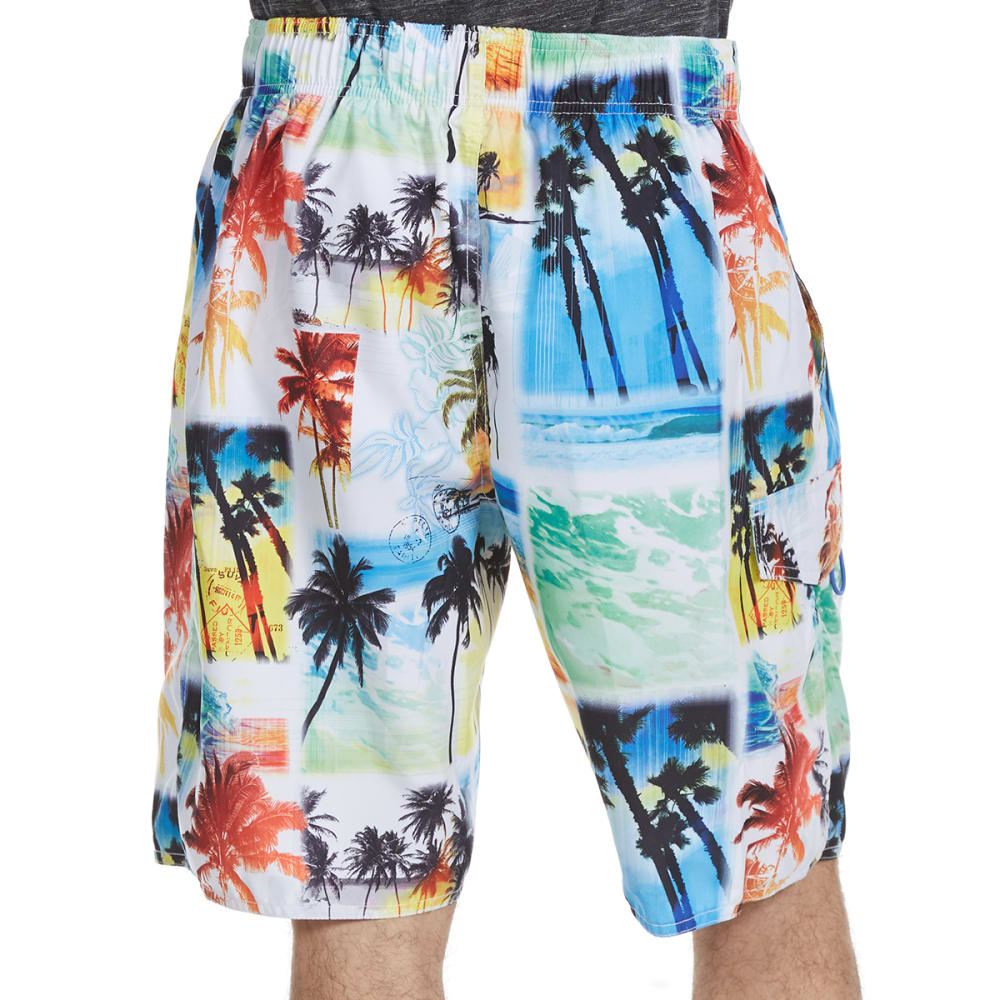 NEWPORT BLUE Men's Starting Over Palm Print Swim Shorts - MULTI-0599