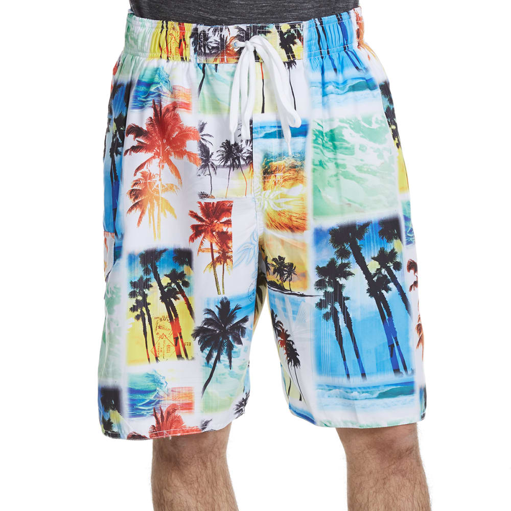 NEWPORT BLUE Men's Starting Over Palm Print Swim Shorts - MULTI-0599