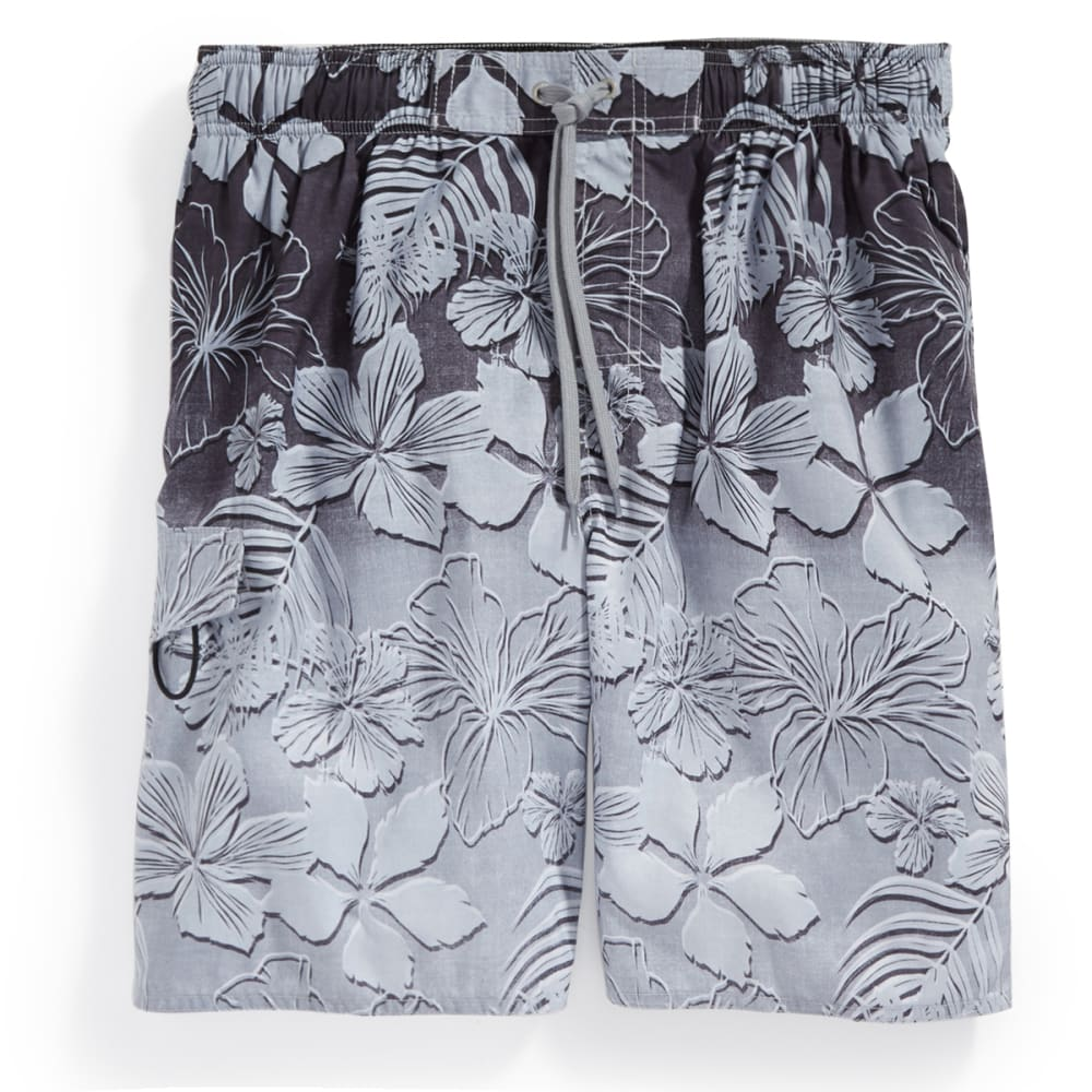 NEWPORT BLUE Men's Faded Eclipse Floral Swim Shorts - BLACK-0002