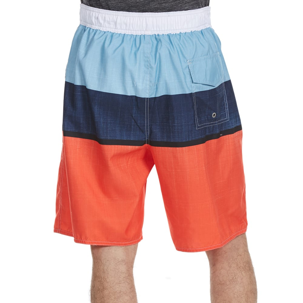 NEWPORT BLUE Men's One-Liner Tri-Block Swim Shorts - RED/BLUE-0645