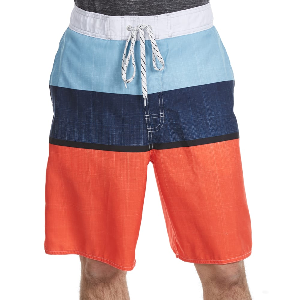 NEWPORT BLUE Men's One-Liner Tri-Block Swim Shorts - RED/BLUE-0645