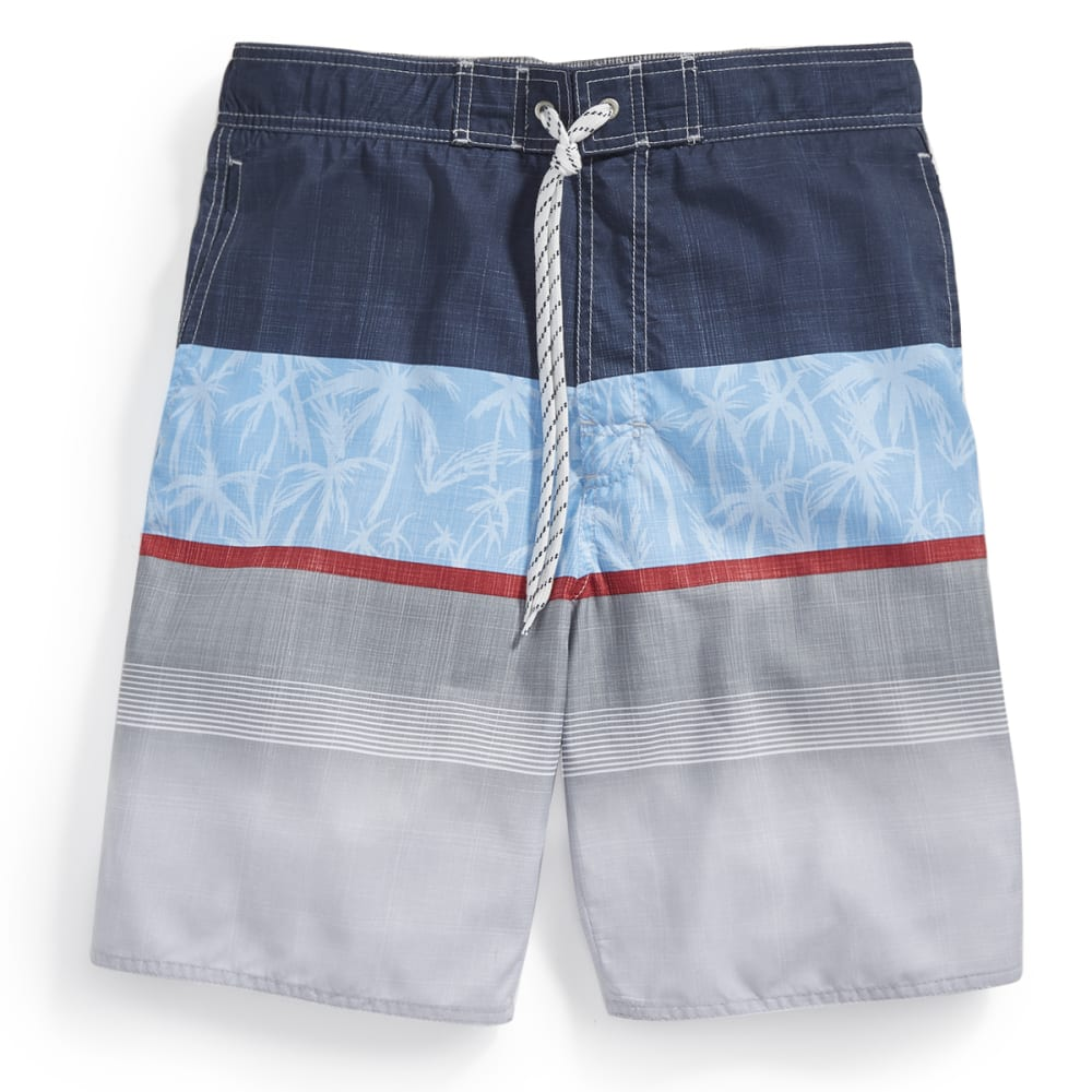 NEWPORT BLUE Men's Jet Set Tri-Block Palm Print Swim Shorts - BLUE-0422