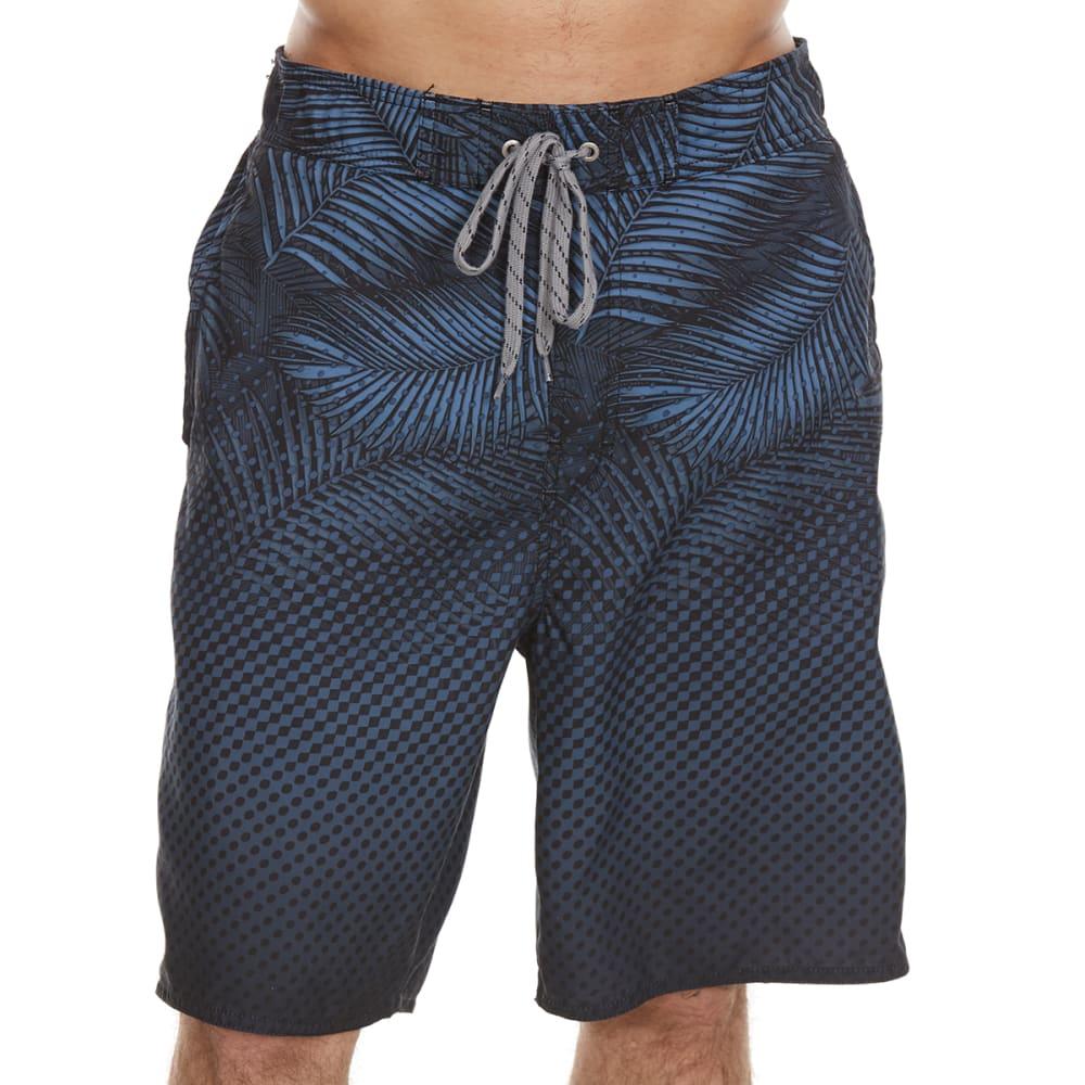 NEWPORT BLUE Men's Leaf Tones Swim Shorts - BLACK-0002