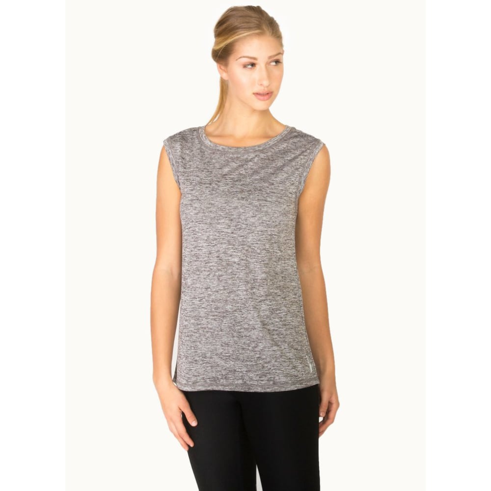RBX Women's Studio Tri-Cut Open Back Muscle Tank - CHAR HTR