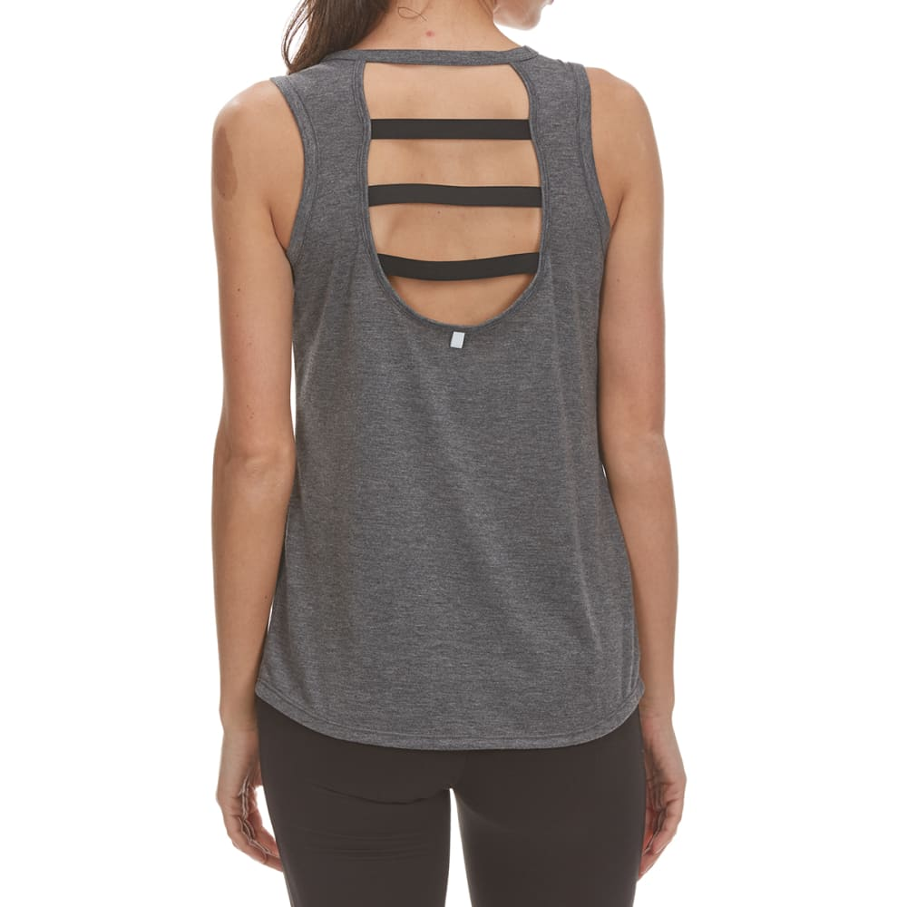 RBX Women's Poly/Rayon Tank Top with Keyhole Elastic Strap Back - CHAR HTR/BLK