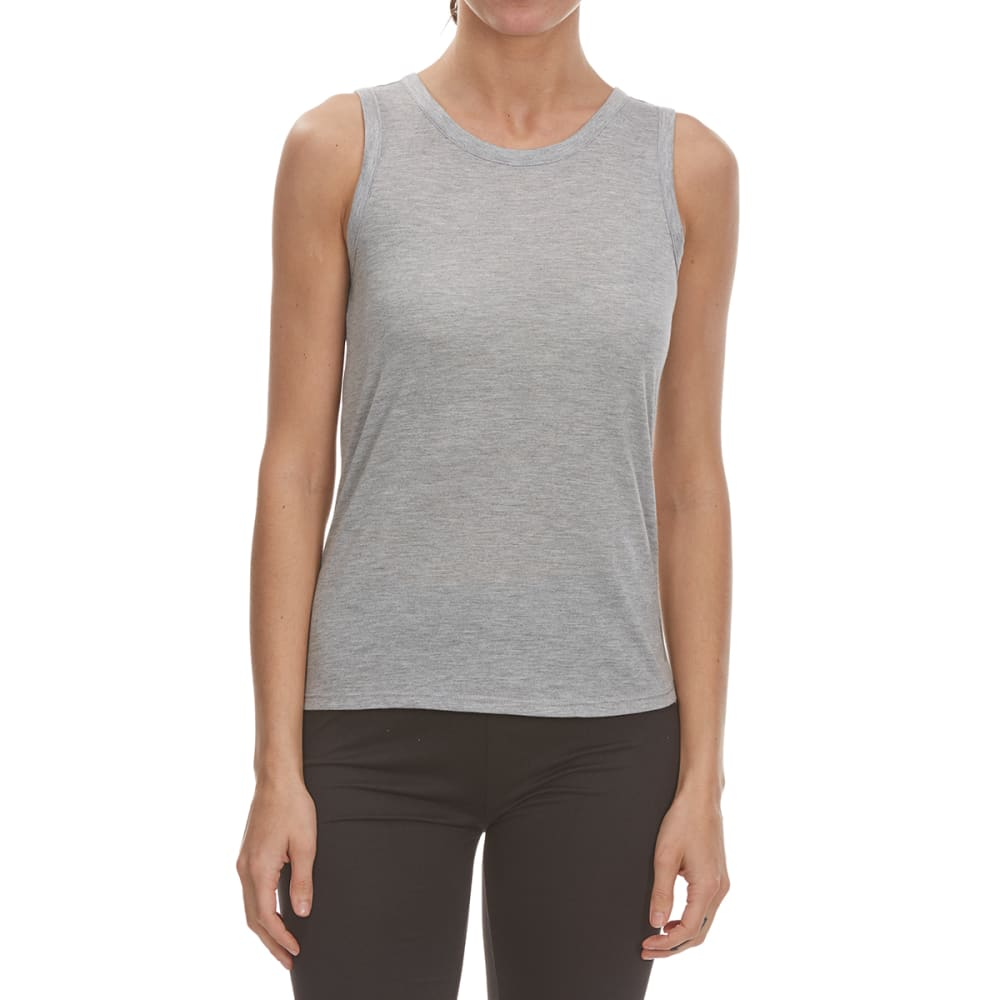 RBX Women's Poly/Rayon Tank Top with Keyhole Elastic Strap Back - LT GRY HTR/GRAPEFRT