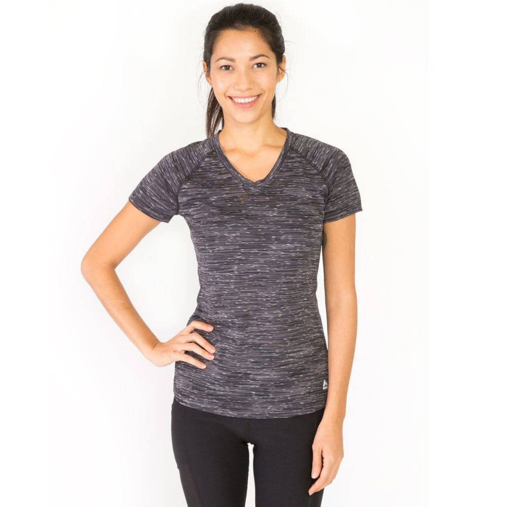 RBX Women's Speckle Multi Space-Dye V-Neck Short-Sleeve Tee - BLACK/WHITE
