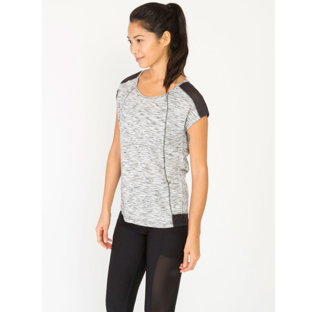 RBX Women's Short Sleeve Stratus Drop Shoulder Mesh Insert Tee - WHITE/BLACK