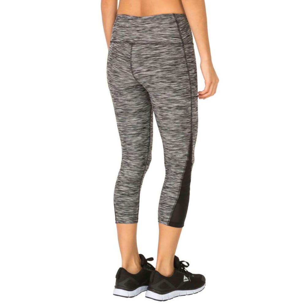 RBX Women's Stratus Mesh Ankle Cropped Capri Leggings - BLK/GRY-A