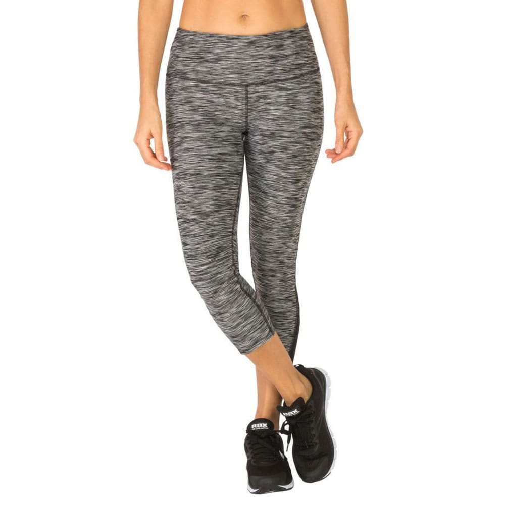 RBX Women's Stratus Mesh Ankle Cropped Capri Leggings - BLK/GRY-A