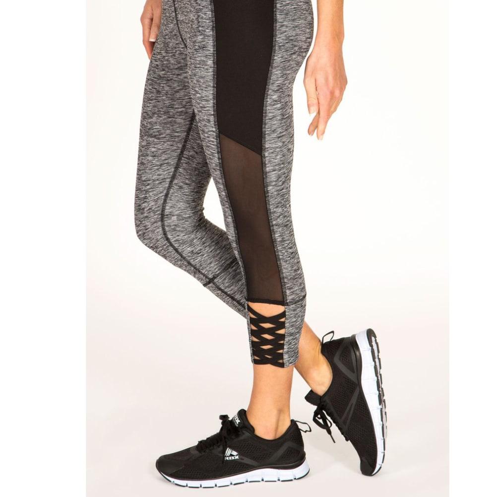 RBX Women's Stratus Braided Ankle Strap Capris - BLACK/GREY-A