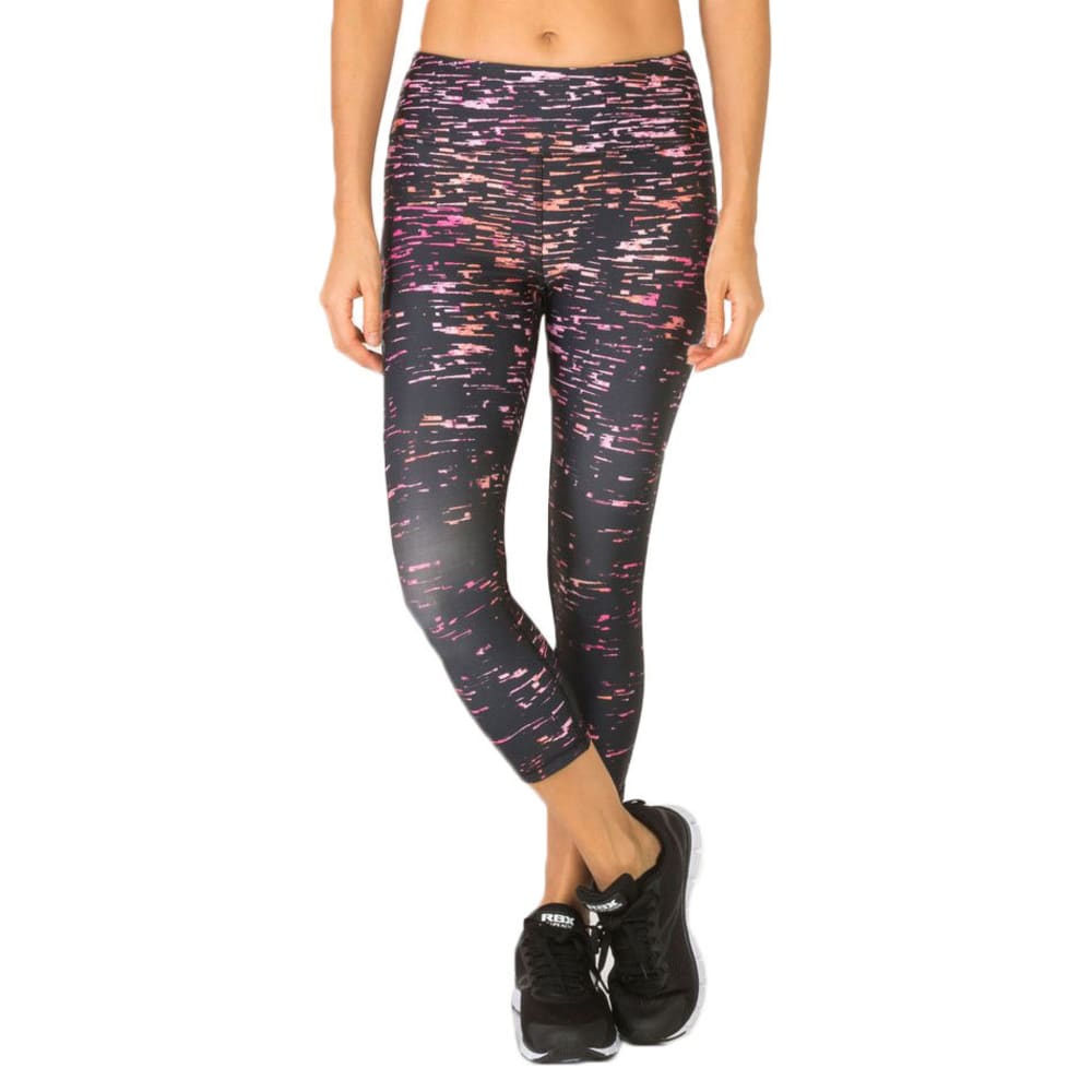 RBX Women's Crackle Printed Yoga Capri Leggings - PINK GRAPEFRUIT-A