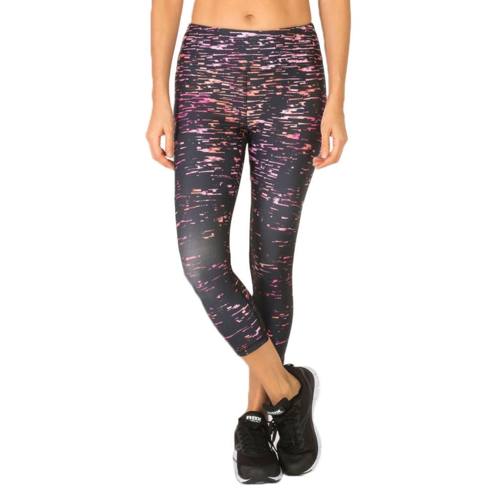 RBX Women's Crackle Printed Yoga Capri Leggings - PINK GRAPEFRUIT-A