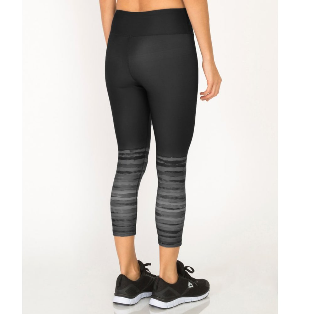 RBX Women's Lumen Brush Stroke Cropped Pilates Capris - BLACK COMBO-B
