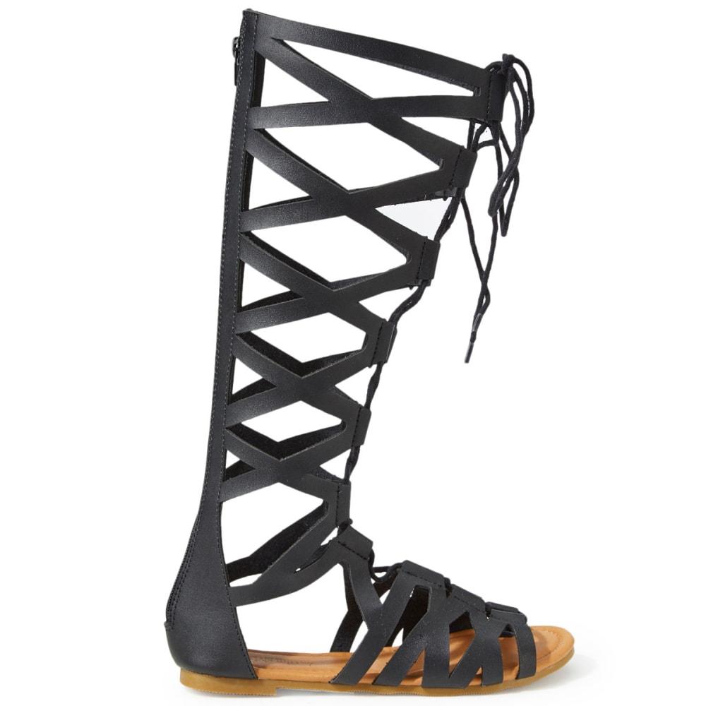 OLIVIA MILLER Women's Tall Lace-Up Gladiator Sandals, Black - BLACK