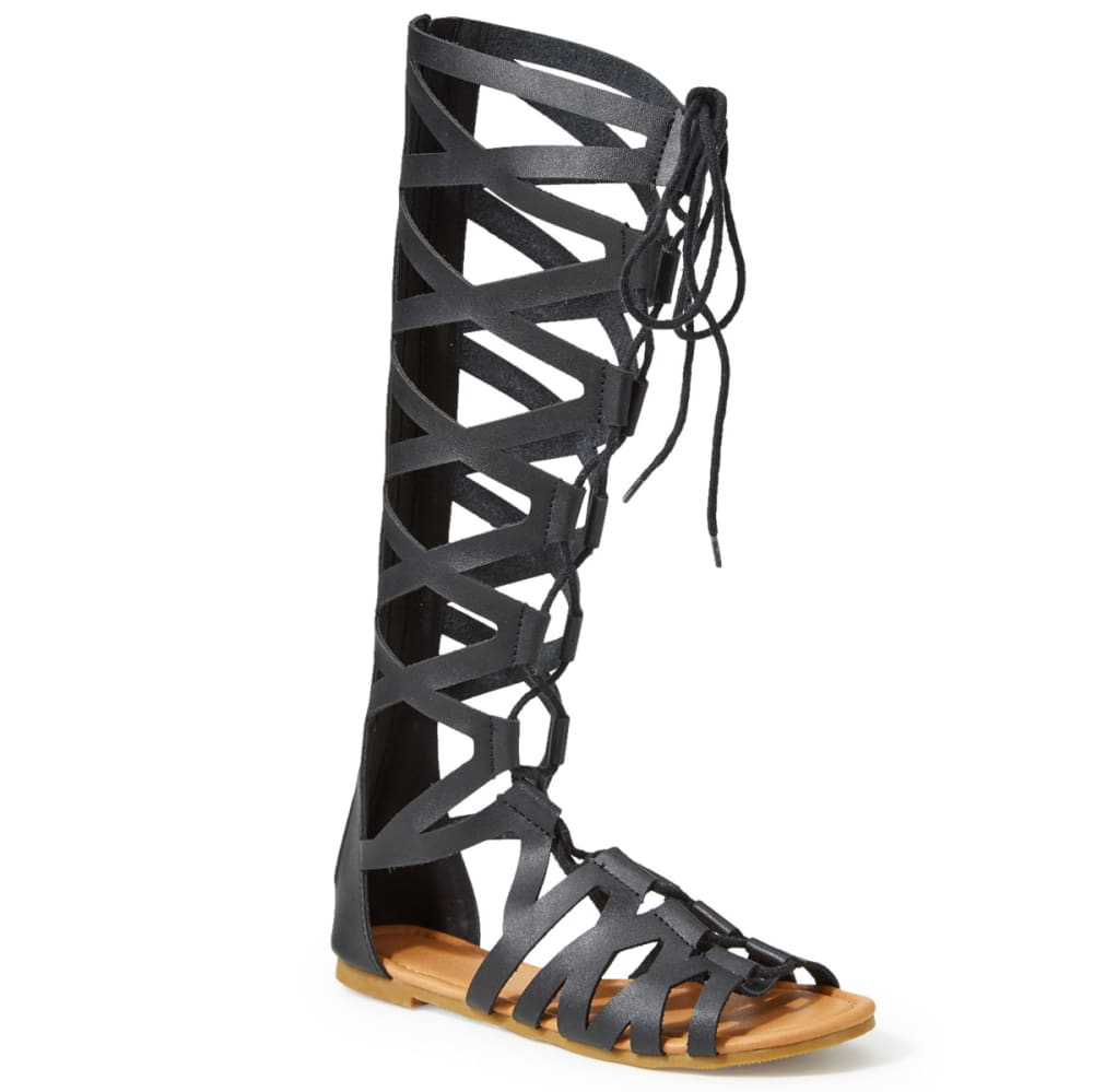 OLIVIA MILLER Women's Tall Lace-Up Gladiator Sandals, Black - BLACK