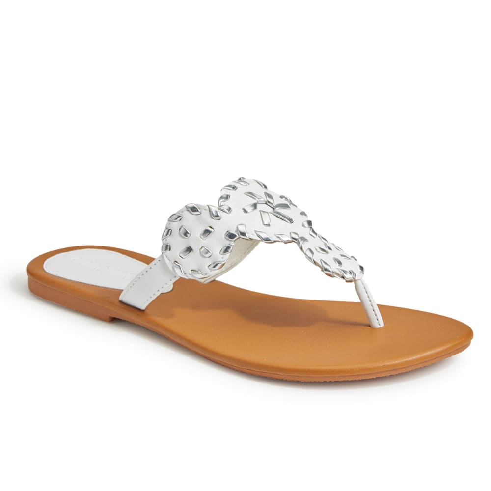 OLIVIA MILLER Women's Whipstitch Circle Thong Sandals - WHITE