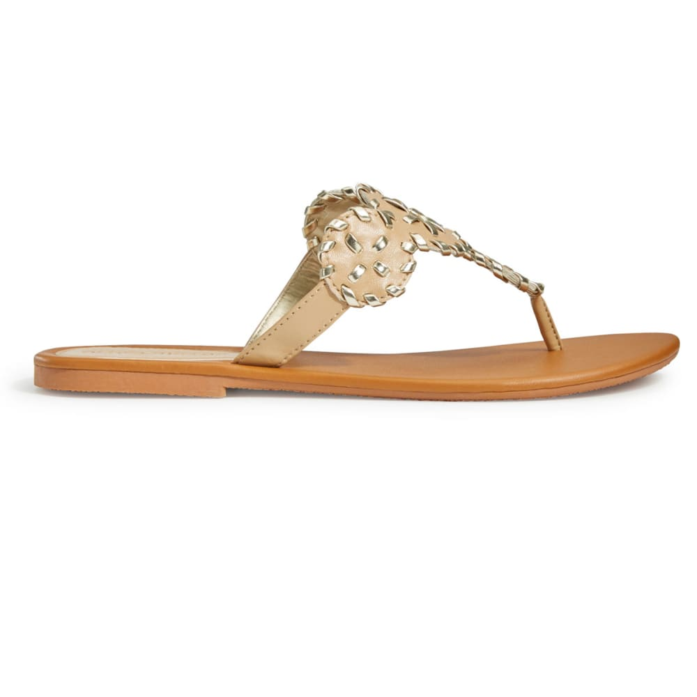 OLIVIA MILLER Women's Whipstitch Circle Thong Sandals - NATURAL