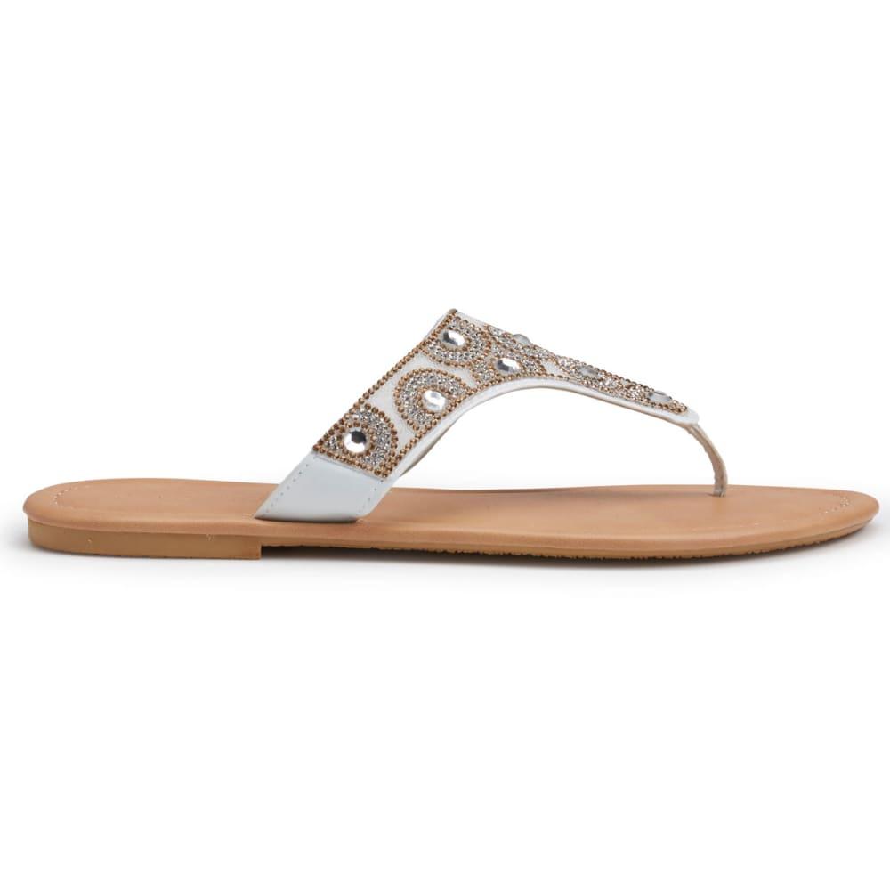OLIVIA MILLER Women's Hooded Beaded Thong Sandals, White - WHITE