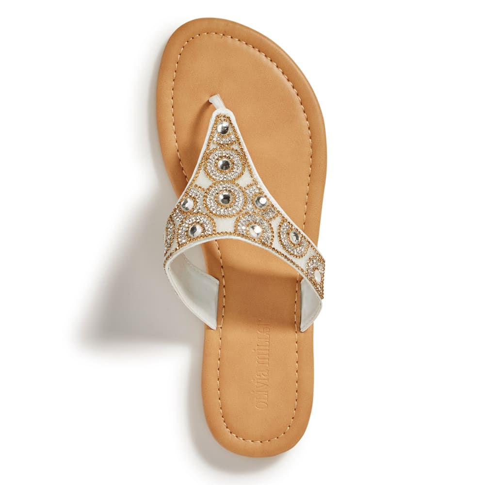 OLIVIA MILLER Women's Hooded Beaded Thong Sandals, White - WHITE