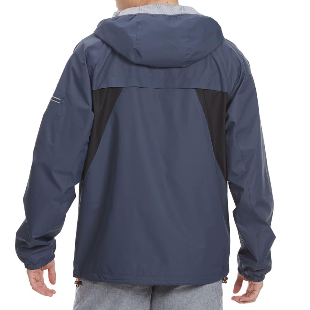 NEW BALANCE Men's Peached Dobby Hooded Jacket - THUNDERGRY/BLACK