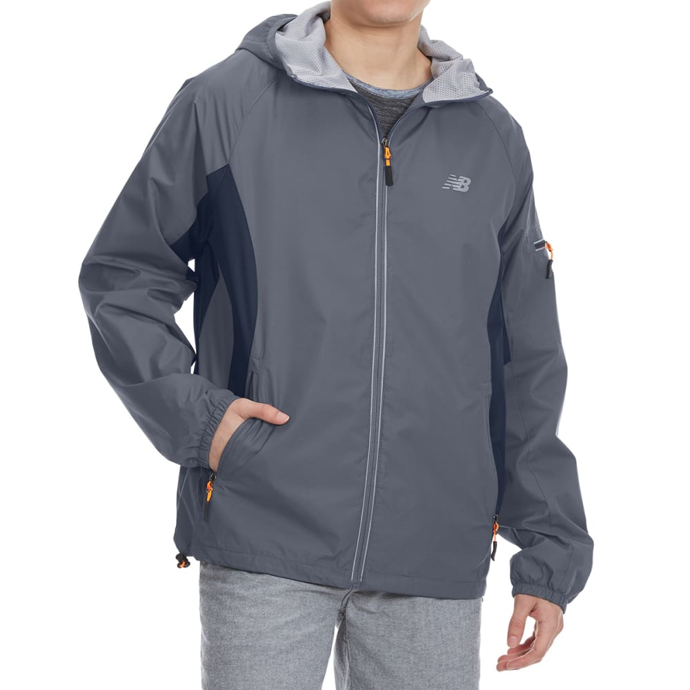 NEW BALANCE Men's Peached Dobby Hooded Jacket - LEAD GRY/THUNDER GRY