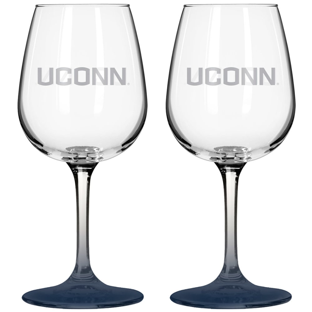 Uconn Satin Etch Wine Glass, 2 Pack