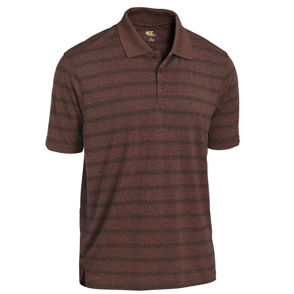 BCC Men's Stripe Marled Short Sleeve Polo - RED MARLED