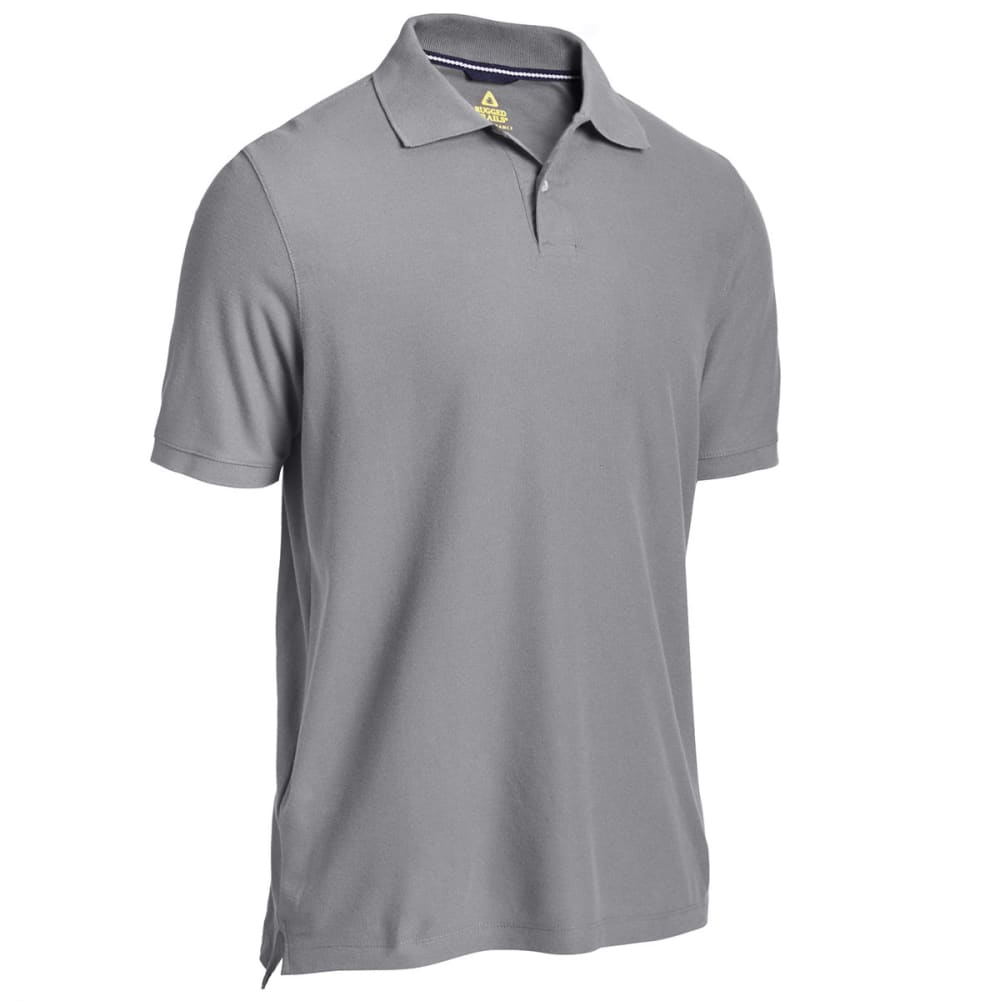RUGGED TRAILS Men's Easy Care Solid Short Sleeve Polo - CASTLEROCK