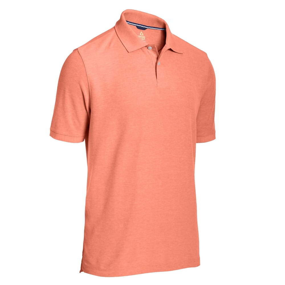 RUGGED TRAILS Men's Easy Care Solid Short Sleeve Polo - TANGELO HEATHER