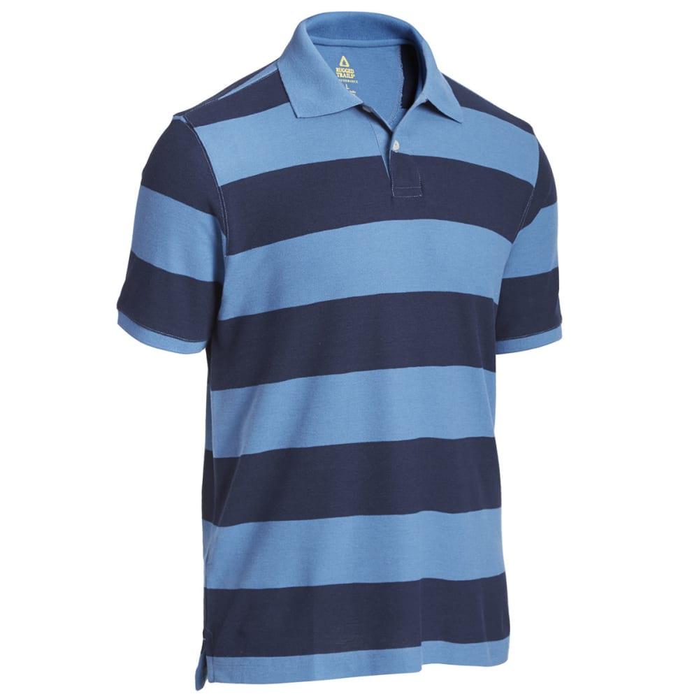 RUGGED TRAILS Men's Easy Care Stripe Short Sleeve Polo - NAVY HTR / DENIM HTR