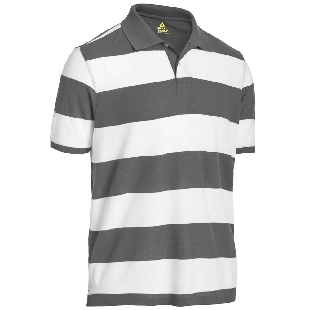 71f48be9a RUGGED TRAILS Men's Easy Care Stripe Short Sleeve Polo - WHITE /