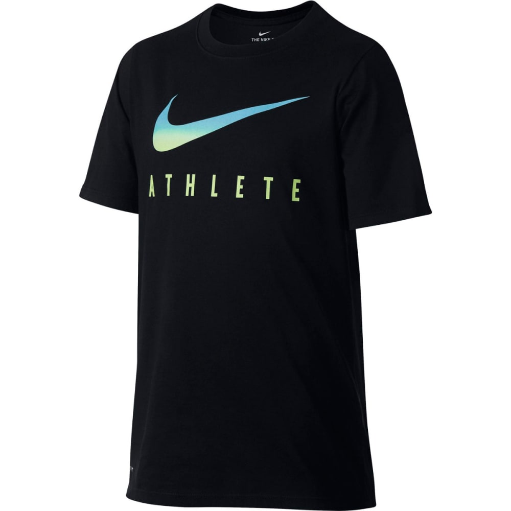 NIKE Big Boys' Dry Swoosh Athlete Short-Sleeve Tee - BLACK/VIVIDSKY-010