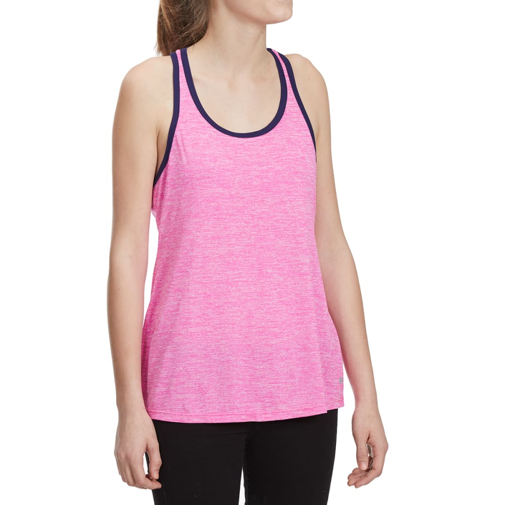 LAYER 8 Women's Heather Contrast Piping Keyhole Tank Top - NEON FLAMINGO/ASTRAL