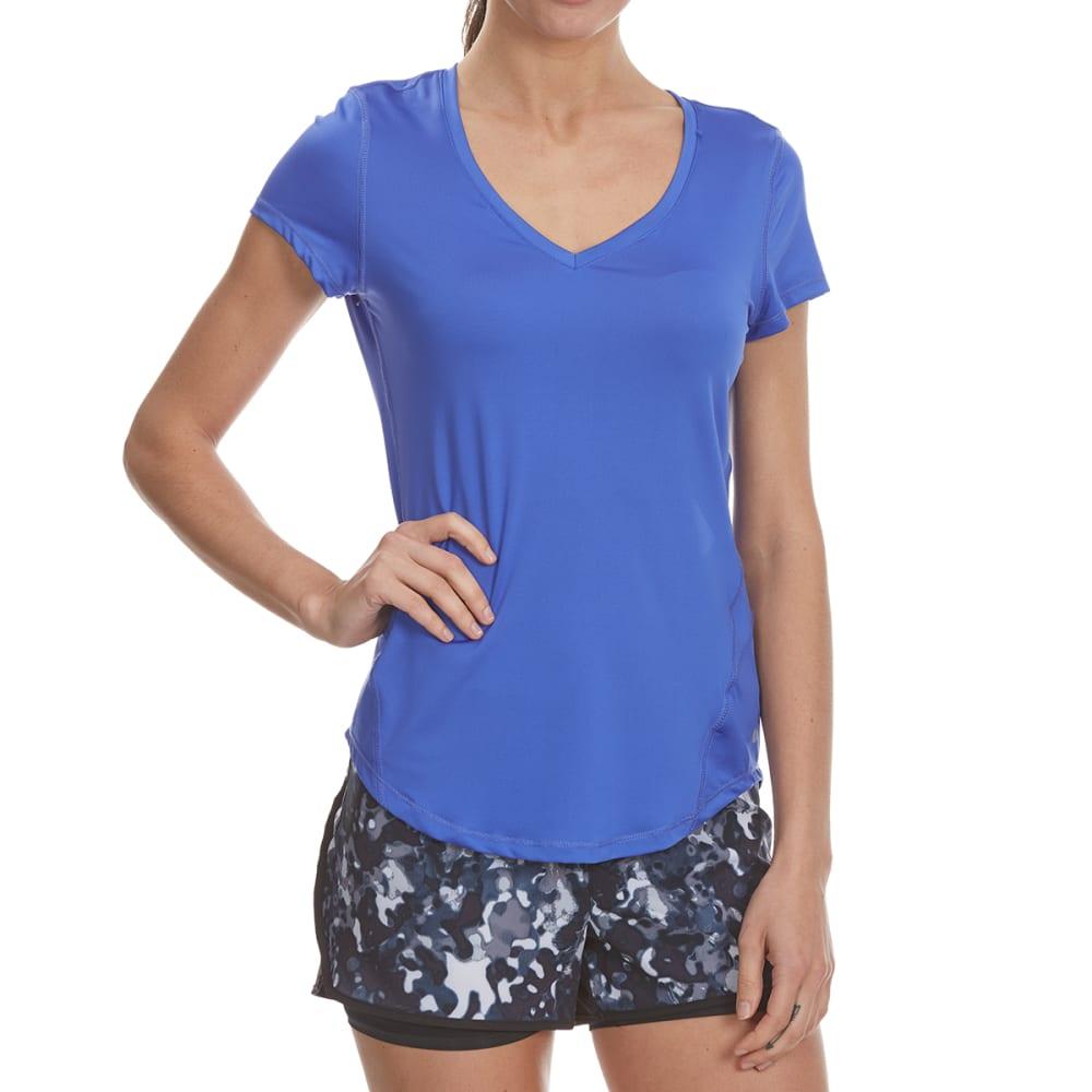 LAYER 8 Women's Poly V-Neck Short-Sleeve Tee - BLISSFUL BLUE