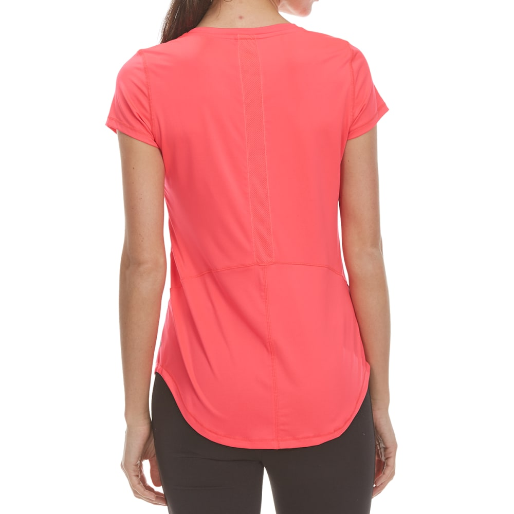 LAYER 8 Women's Poly V-Neck Short-Sleeve Tee - PINK GLAM