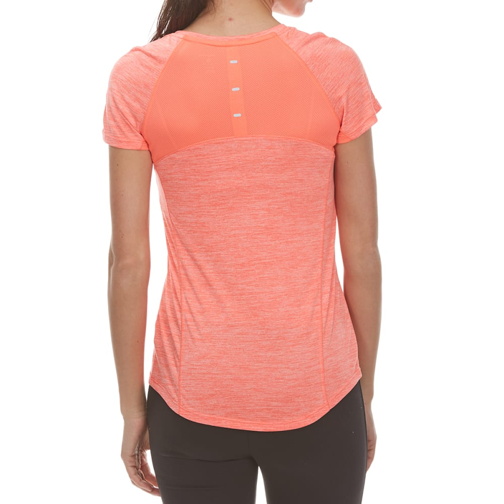 LAYER 8 Women's Poly Sueded Chunky Heather Short-Sleeve Tee - ELECTRIC CORAL HTR