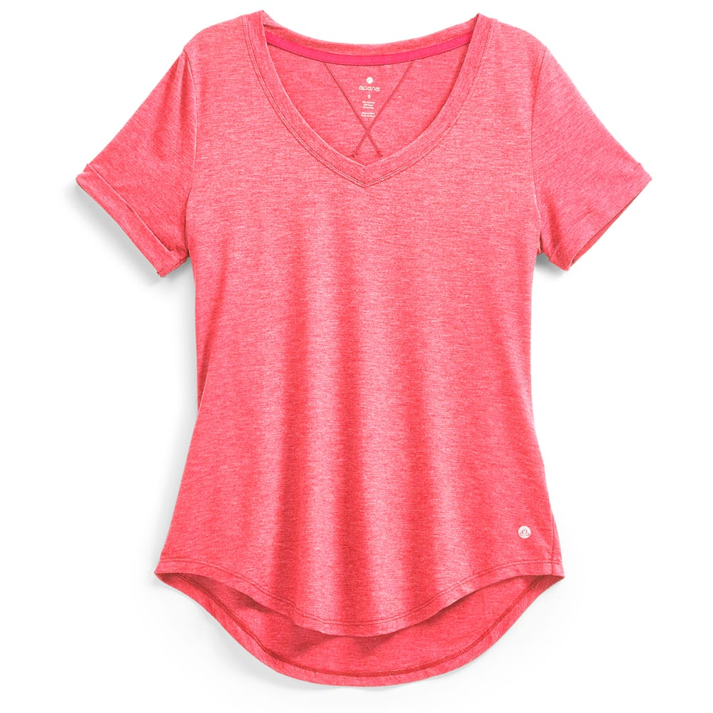 Apana Women's Poly Rayon V-Neck Tee - Red, M