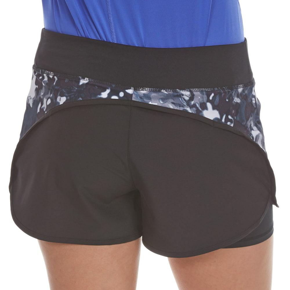 LAYER 8 Women's Poly/Spandex Printed Woven Shorts - RICH BLACK PRINT