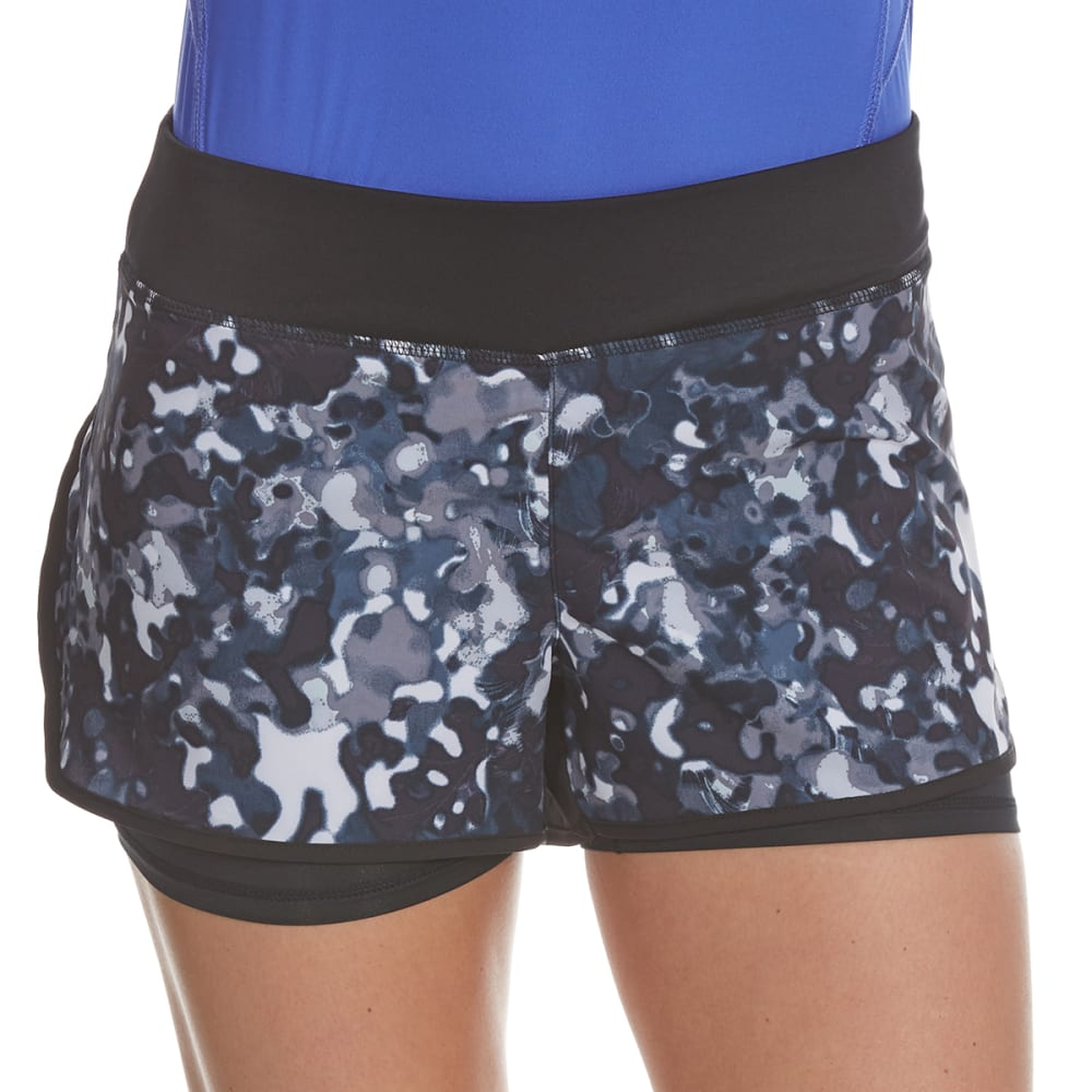 LAYER 8 Women's Poly/Spandex Printed Woven Shorts - RICH BLACK PRINT