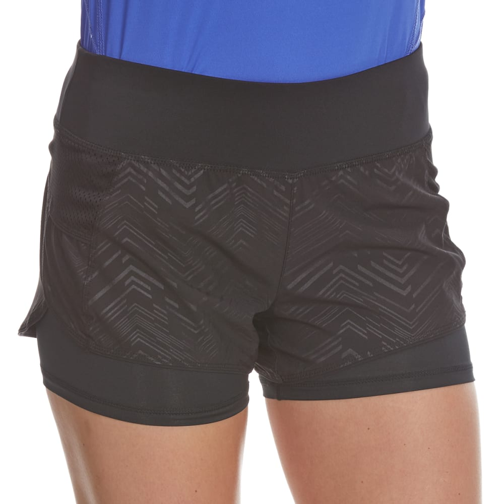 LAYER 8 Women's Broken Chevron Woven Shorts - RICH BLK EMBOSSED