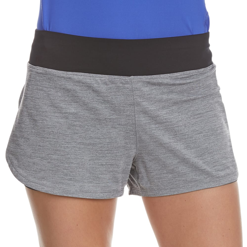 LAYER 8 Women's Twofer Elastic Waistband Heather Shorts - GREY FLANNEL/BLK