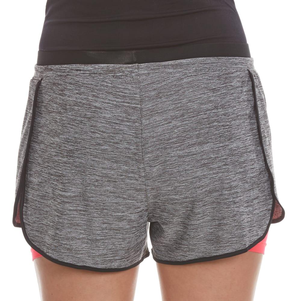 LAYER 8 Women's Twofer Drawstring Waistband Shorts - CHAR/PINK GLAM