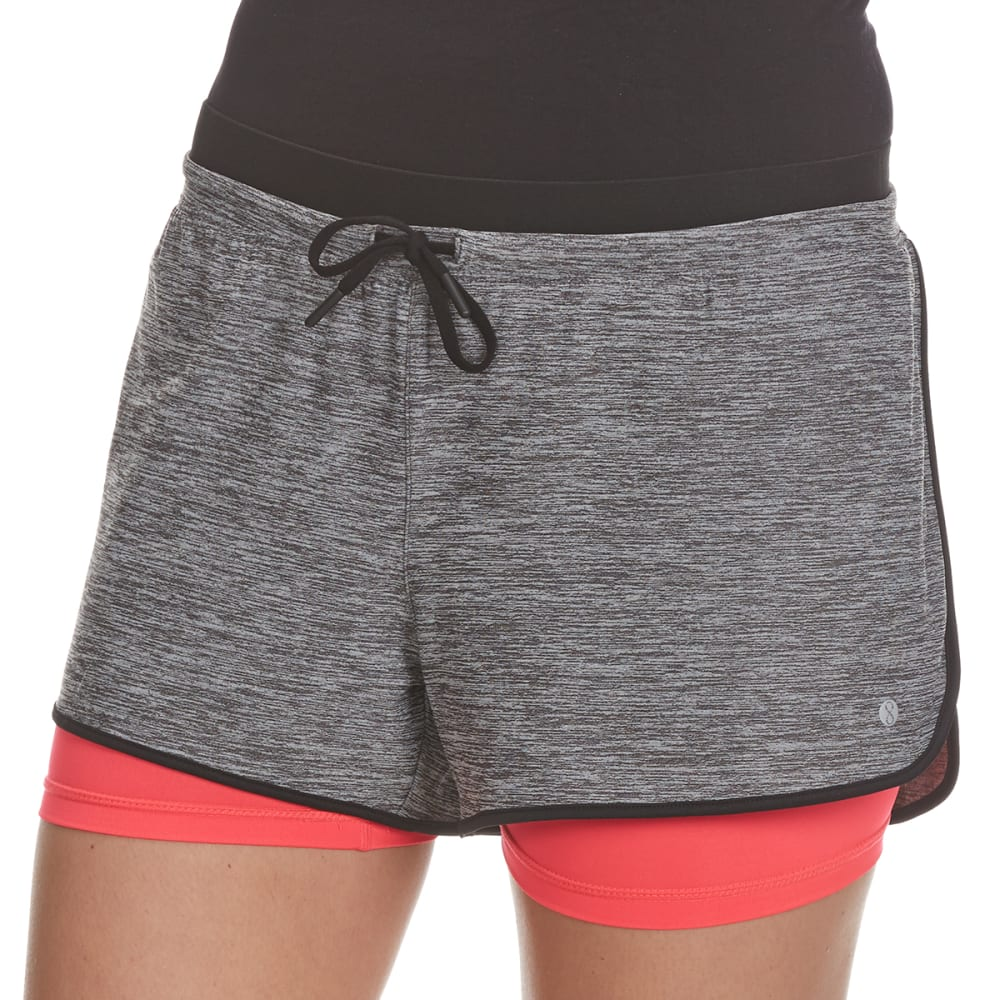 LAYER 8 Women's Twofer Drawstring Waistband Shorts - CHAR/PINK GLAM