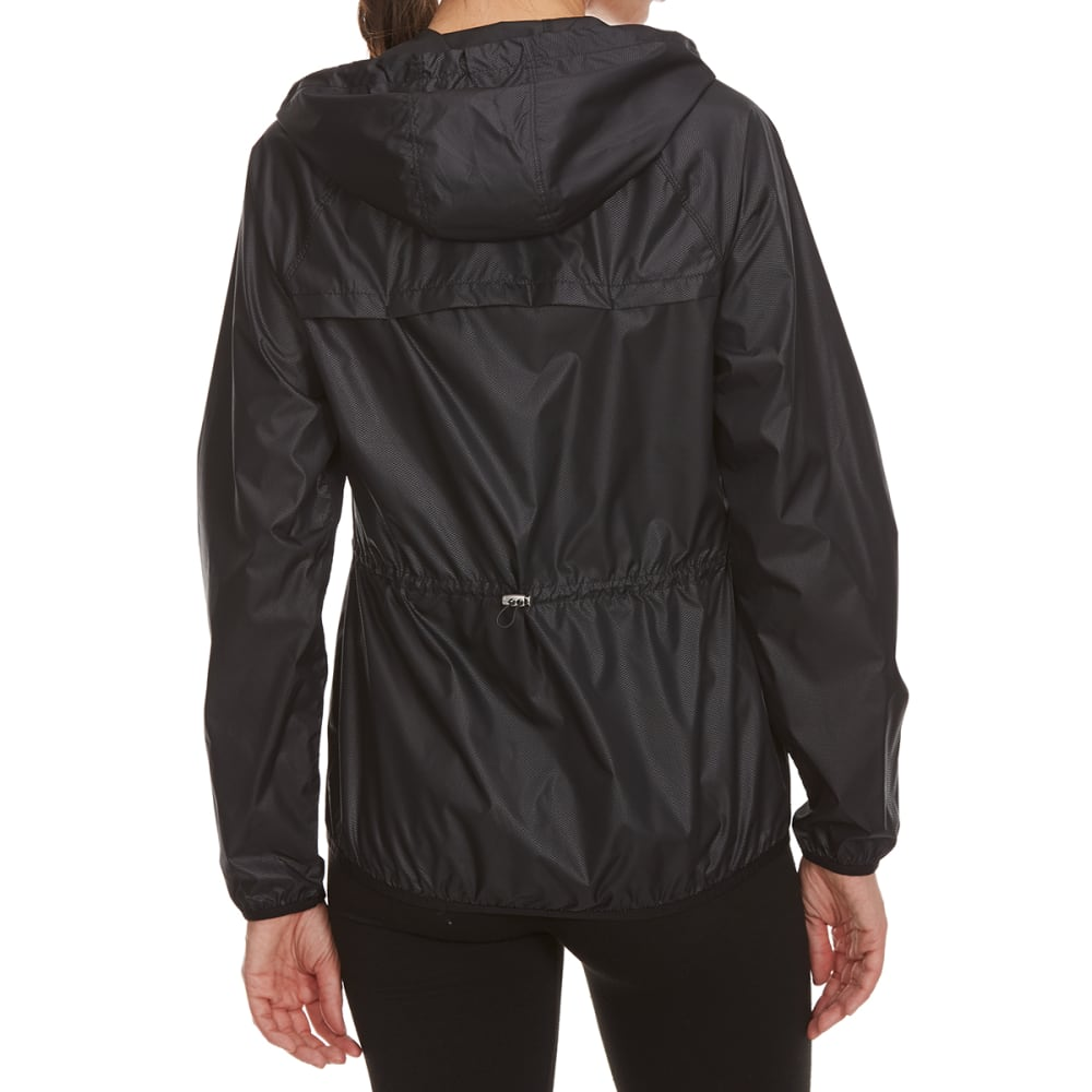 LAYER 8 Women's Embossed Poly Woven Jacket - RICH BLACK