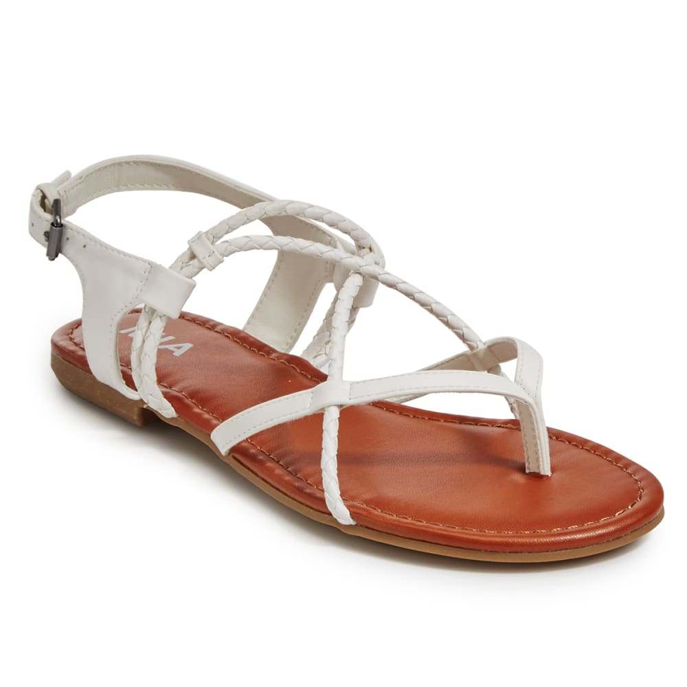 MIA Women's Dana Flat Sandals, White - WHITE