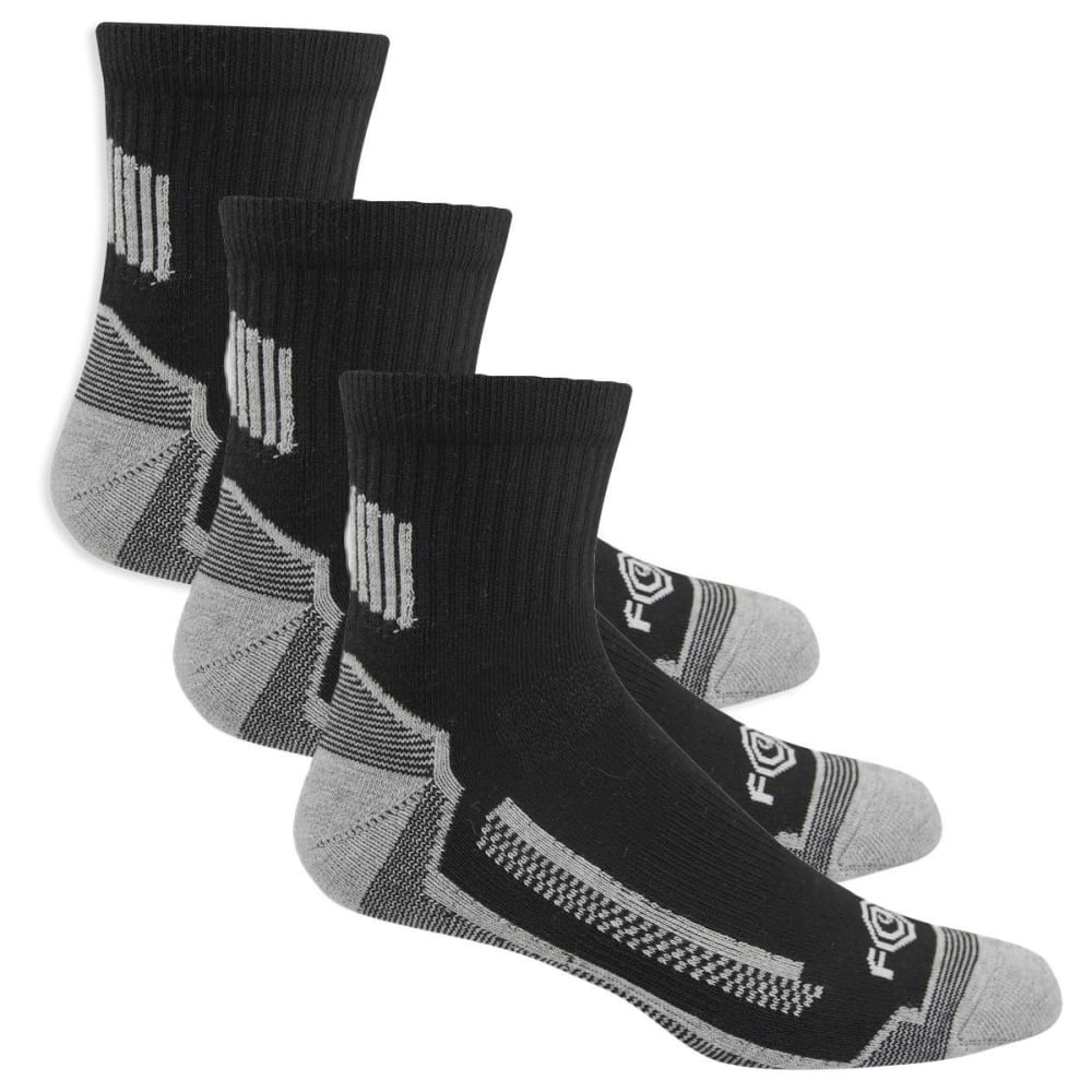 CARHARTT Men's Force High Performance Work Quarter Socks, 3 Pack - A528-3 BLACK